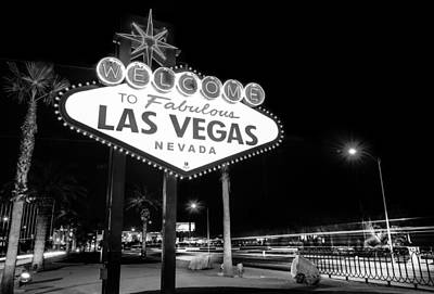 Poster featuring the photograph Welcome To Fabulous Las Vegas - Neon Sign In Black And White by Gregory Ballos