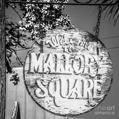 Welcome To Mallory Square Key West 2  - Square - Black And White Poster