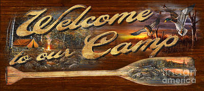Welcome To Our Camp Sign Poster by Jim Hansel
