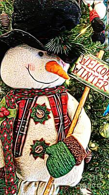 Welcome Winter Snowman Poster by Michelle Frizzell-Thompson