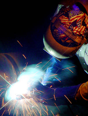 Welder On Times Square In Nyc Poster