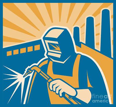 Welder Welding Factory Retro Woodcut Poster by Aloysius Patrimonio