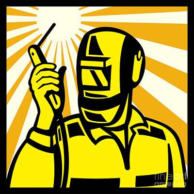 Welder Worker Welding Torch Retro Poster