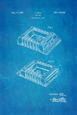 Welk Accordion Ash Tray Patent Art 1953 Blueprint Poster by Ian Monk