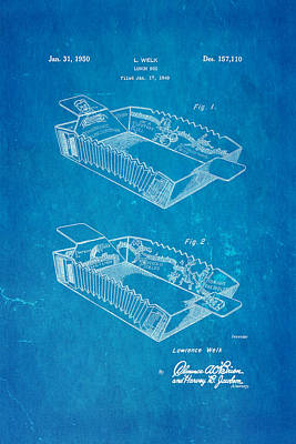 Welk Accordion Lunch Box Patent Art 1950 Blueprint Poster