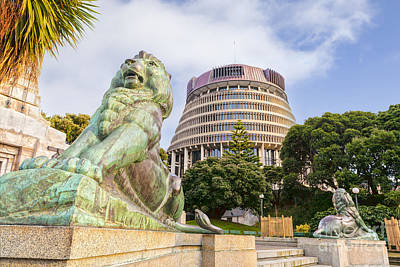 Wellington The Beehive Parliament Buildings New Zealand Poster by Colin and Linda McKie