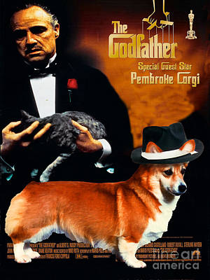 Welsh Corgi Pembroke Art Canvas Print - The Godfather Movie Poster Poster by Sandra Sij