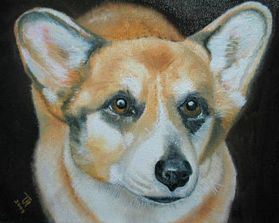 Poster featuring the painting Welsh Corgi by Thomas J Herring