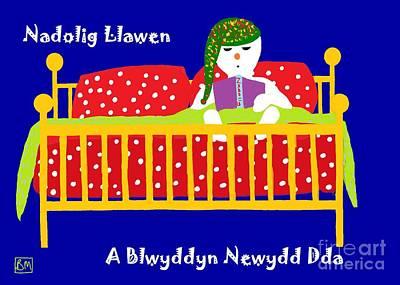 Poster featuring the digital art Welsh Snowman Bedtime  by Barbara Moignard