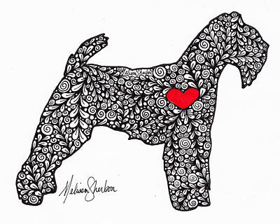 Poster featuring the drawing Welsh Terrier by Melissa Sherbon