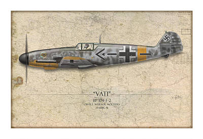 Werner Molders Messerschmitt Bf-109 - Map Background Poster by Craig Tinder