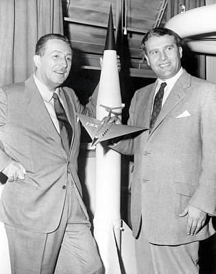 Wernher Von Braun And Walt Disney Poster by Nasa/marshall Space Flight Center