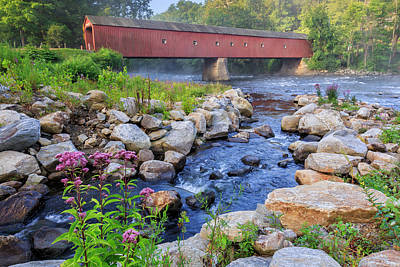 Poster featuring the photograph West Cornwall Covered Bridge Summer by Bill Wakeley