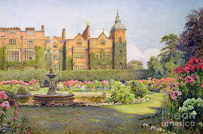 West Front And Gardens Of Hatfield Poster by Ernest Arthur Rowe