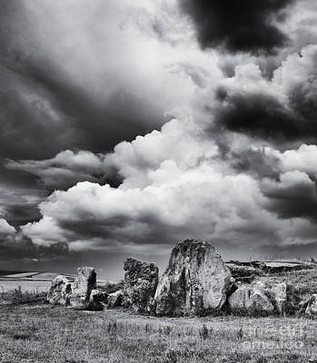 West Kennet Long Barrow Monochrome Poster by Tim Gainey
