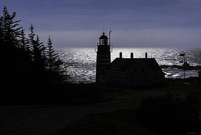 West Quoddy Head Light Station In Silhouette Poster by Marty Saccone