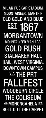 West Virginia College Town Wall Art Poster