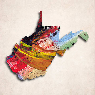 West Virginia Map Art - Painted Map Of West Virginia Poster by World Art Prints And Designs