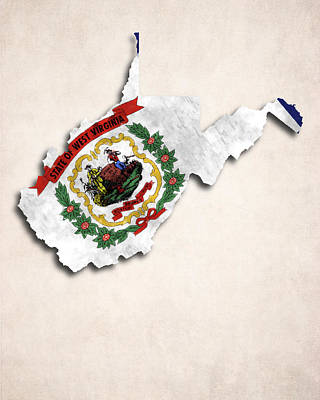 West Virginia Map Art With Flag Design Poster