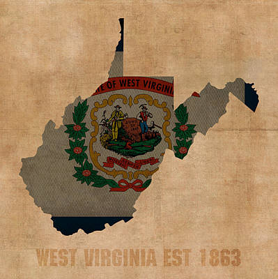 West Virginia State Flag Map Outline With Founding Date On Worn Parchment Background Poster