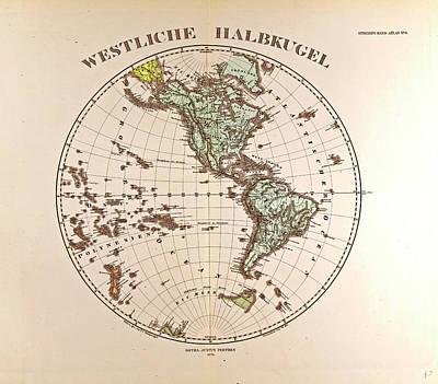 Westen Hemispheregotha Justus Perthes 1872 Atlas Poster by English School