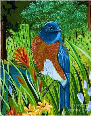 Poster featuring the painting Western Bluebird by Jennifer Lake