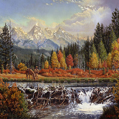 Western Mountain Landscape Autumn Mountain Man Trapper Beaver Dam Frontier Americana - Square Format Poster by Walt Curlee