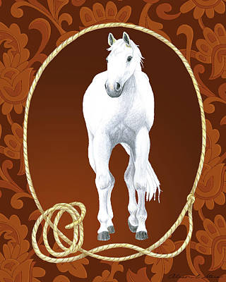 Western Roundup Standing Horse Poster