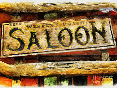 Western Saloon Sign - Drawing Poster by Daliana Pacuraru