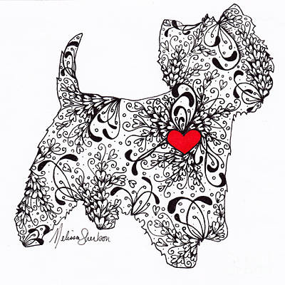 Poster featuring the drawing Westie by Melissa Sherbon