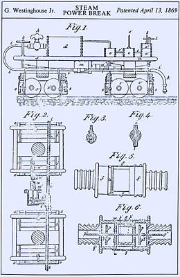 Westinghouse Steam Power Brake Patent Poster