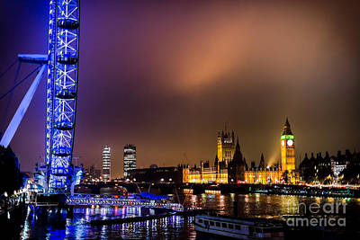 Westminster And Eye Night Glow Poster by Matt Malloy
