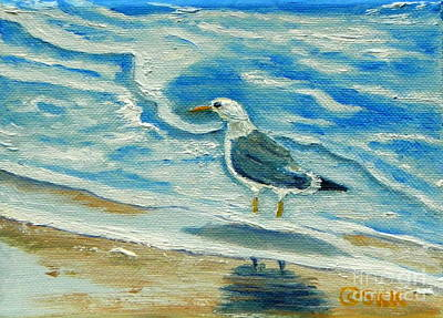 Poster featuring the painting Wet Feet - Shore Bird by Shelia Kempf