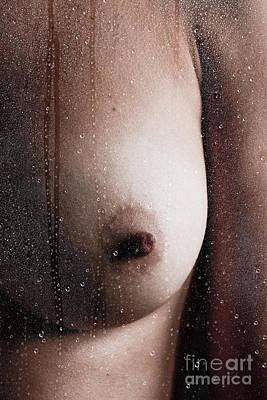Nip Behind Wet Glass Poster by Erotic Art