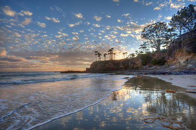 Wet Sand Reflections Laguna Beach Poster