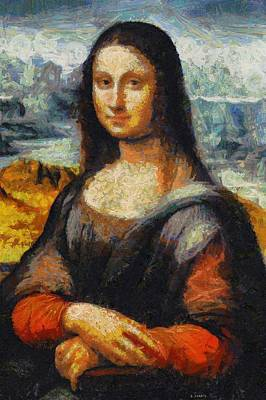 Poster featuring the painting What If Vincent Van Gogh Had Painted Mona Lisa? by Kai Saarto