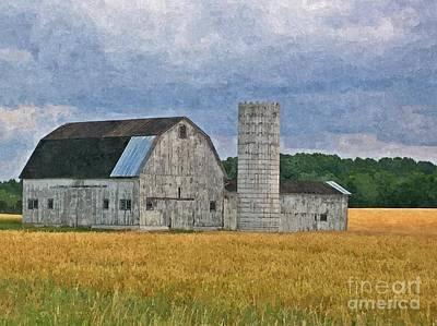 Wheat Field Barn Poster