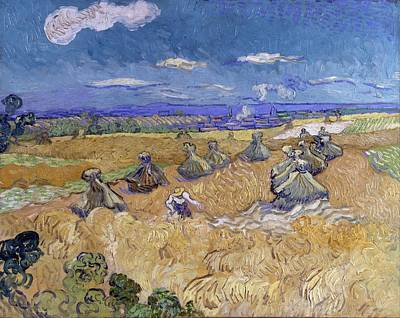 Wheat Fields With Reaper - Auvers Poster by Vincent van Gogh