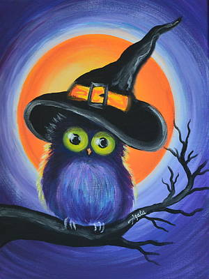 Poster featuring the painting Owl Spook You by Agata Lindquist