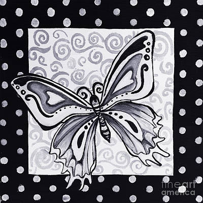 Whimsical Black And White Butterfly Original Painting Decorative Contemporary Art By Madart Studios Poster
