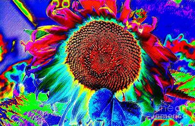 Poster featuring the digital art Whimsical Colorful Sunflower by Annie Zeno