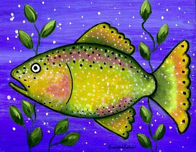 Poster featuring the painting Whimsical Folk Art Fish by Sandra Estes
