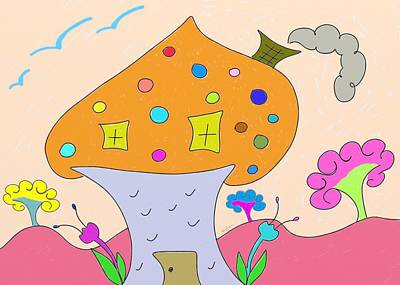 Whimsical Mushroom Tree House  Poster by Gina Lee Manley