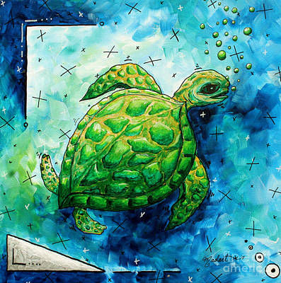 Whimsical Sea Turtle Original Painting By Megan Duncanson Poster by Megan Duncanson