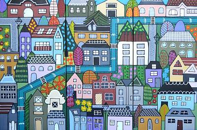 Whimsical Village Poster