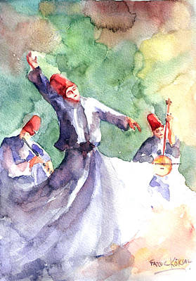 Poster featuring the painting Whirling Dervishes by Faruk Koksal
