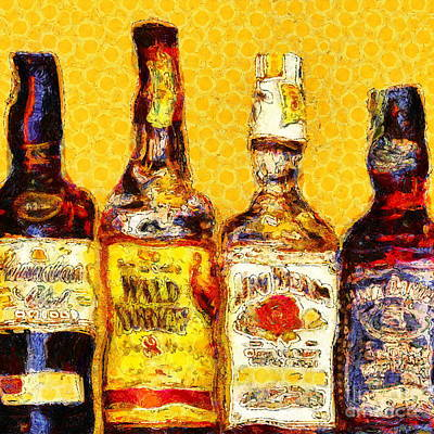 Whiskeys Inspired By Van Gogh 20140917 Square Poster by Wingsdomain Art and Photography