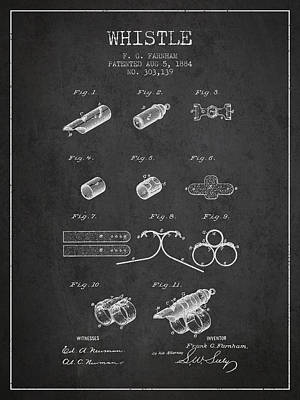 Whistle Patent From 1884 - Charcoal Poster by Aged Pixel