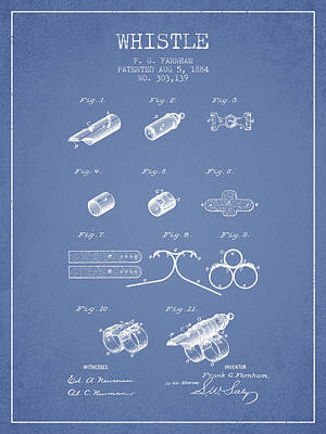 Whistle Patent From 1884 - Light Blue Poster by Aged Pixel