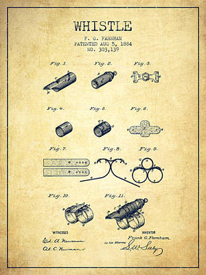 Whistle Patent From 1884 - Vintage Poster
